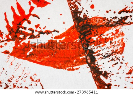 Abstract hand painted red and black arts background   - stock photo