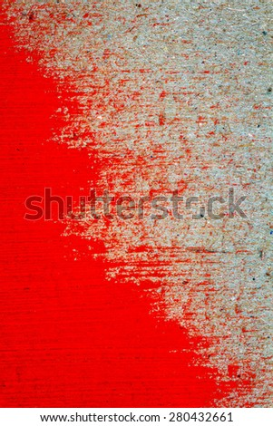 Abstract hand painted red paint on cardboard texture background   - stock photo