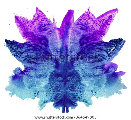 abstract hand painted watercolor ink rorschach grunge  background, purple and blue flower - stock photo