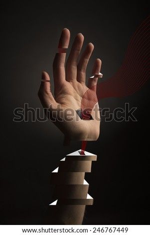 Abstract Hand with blocks and holes with red lines flowing out, perhaps symbolizing blood transfusion or transhumanism