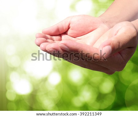 abstract Hand with Green leaf background bokeh. give life air Tree growth summer future outdoor earth backdrop green natural room heaven blur  fun be moody Mineral Good eyesight World Environment Day