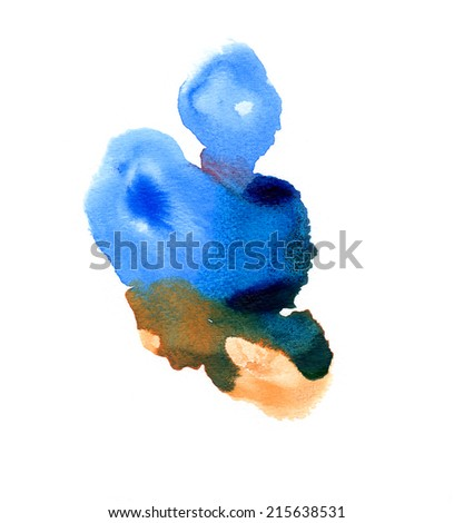 Abstract handmade blue and ocher watercolor splash on white background