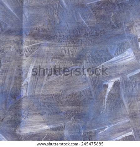 Abstract handmade watercolor painting on creased paper. Blue background