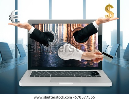 Abstract hands with dollar, euro sings and credit card coming out of laptop screen placed on conference table. Online banking concept. 3D Rendering