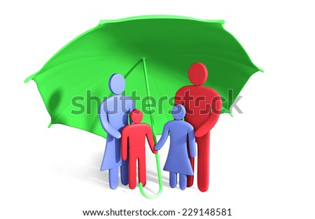 Abstract happy family stands under umbrella. Conception of safety - stock photo