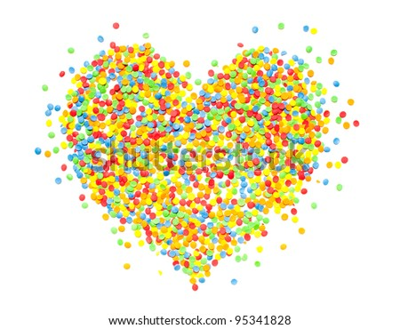 abstract heart from color sweet dots on white background - stock photo