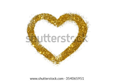 Abstract heart of golden glitter sparkle on white background - stock photo
