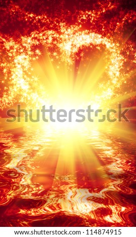 abstract heart of sparks and reflection in the waves on a dark background - stock photo