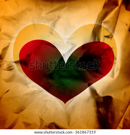 Abstract heart on a paper grunge background - stock photo