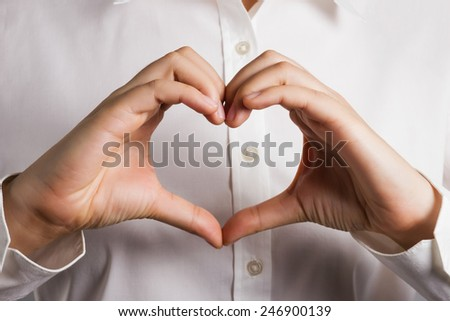 Abstract heart shape by hand. - stock photo