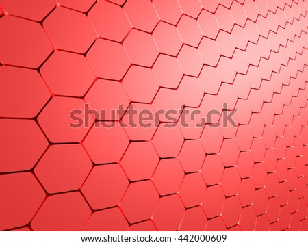Abstract Hexagon Pattern Red Background. 3d Render Illustration - stock photo