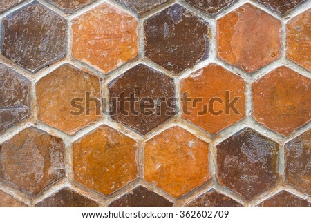 Abstract hexagon tiles wall texture background - stock photo