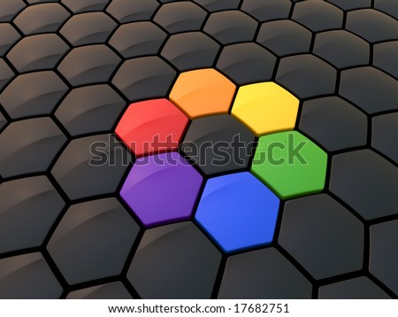 Abstract hexagonal color wheel - stock photo