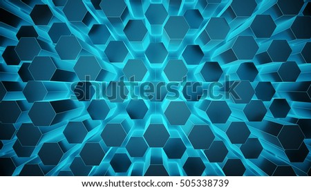 Abstract hexagonal space low poly dark background with blue glow illumination. Futuristic HUD concept. 3D Render.