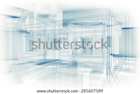 Abstract hi-tech background. White interior with chaotic cubic geometric constructions and wire frame lines, 3d render illustration - stock photo