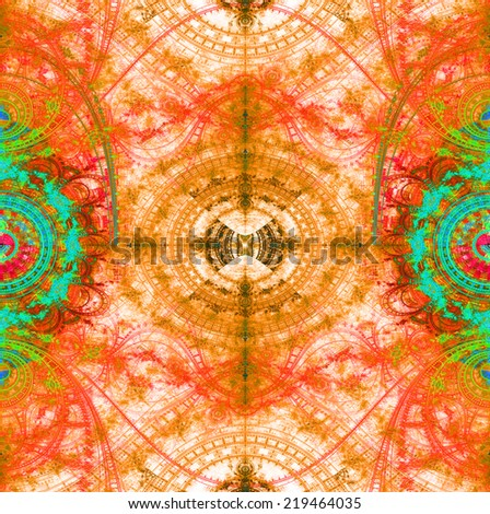 Abstract high resolution background with a crazy circular pattern with many decorative ornamental branches,arches,curves balanced in the middle,all in orange,red,pink,cyan and green and against white - stock photo