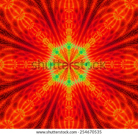 Abstract high resolution background with a detailed abstract star with a 3D illusion and in glowing red,yellow,green colors - stock photo