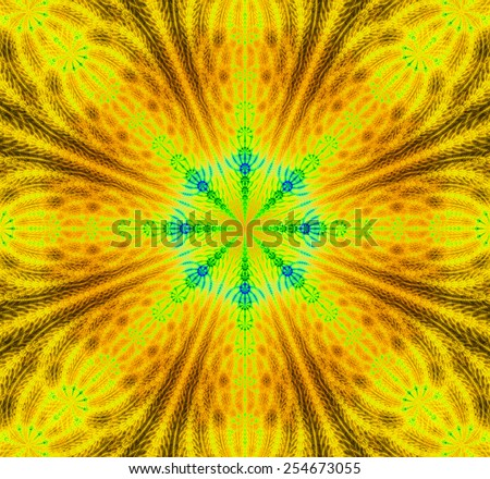 Abstract high resolution background with a detailed abstract star with a 3D illusion and in vivid yellow,orange,green colors - stock photo
