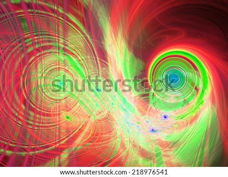 Abstract high resolution background with a detailed bright glowing red, green and blue fractal pattern consisting of various spirals, discs, circles and rings, all bended and twisted.  - stock photo