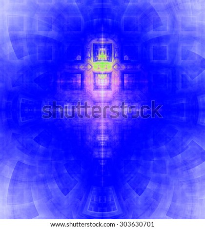 Abstract high resolution background with a detailed geometric square pattern and decorative arches, all in vivid blue,purple,pink - stock photo