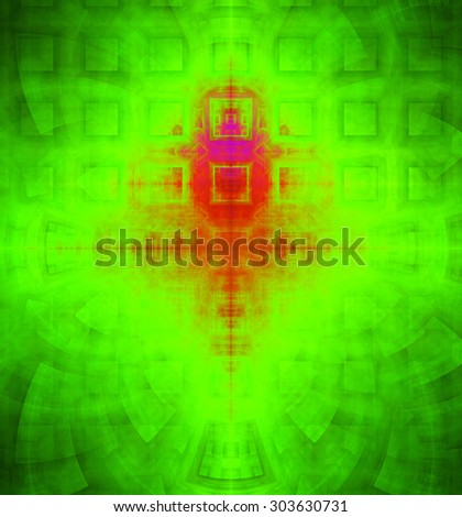 Abstract high resolution background with a detailed geometric square pattern and decorative arches, all in dark and bright vivid green and red - stock photo