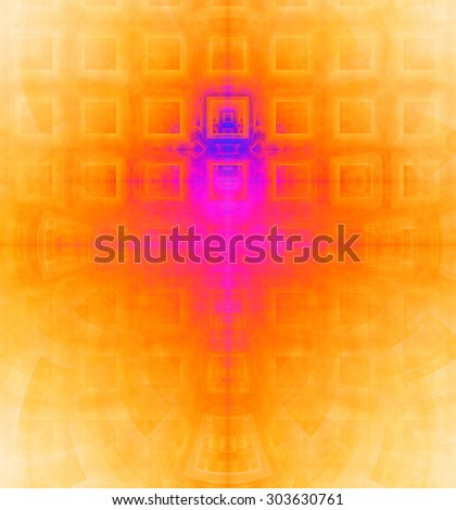 Abstract high resolution background with a detailed geometric square pattern and decorative arches, all in vivid yellow,orange,pink,red,purple - stock photo