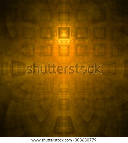Abstract high resolution background with a detailed geometric square pattern and decorative arches, all in yellow,orange - stock photo