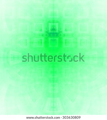 Abstract high resolution background with a detailed geometric square pattern and decorative arches, all in green and teal - stock photo