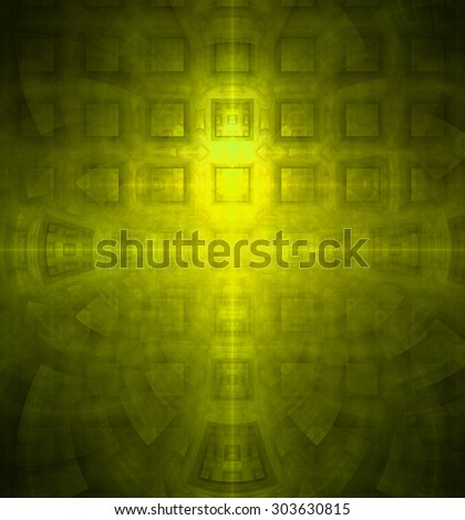 Abstract high resolution background with a detailed geometric square pattern and decorative arches, all in yellow and green - stock photo