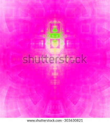 Abstract high resolution background with a detailed geometric square pattern and decorative arches, all in vivid pink and green - stock photo