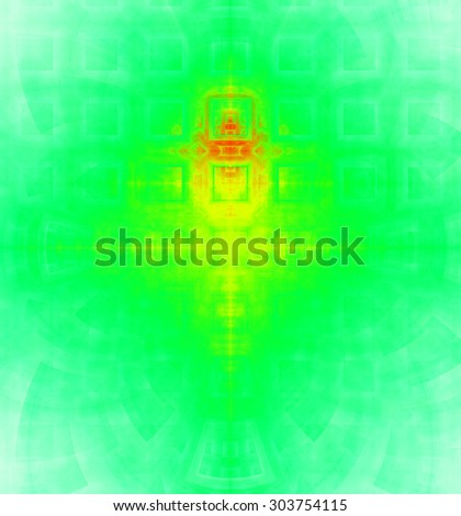 Abstract high resolution background with a detailed geometric square pattern and decorative arches, all in bright vivid cyan,green,yellow,red - stock photo