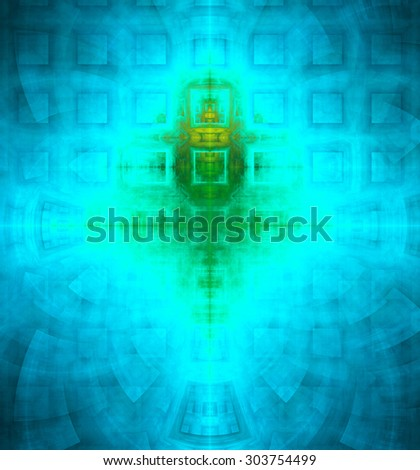 Abstract high resolution background with a detailed geometric square pattern and decorative arches, all in dark and bright vivid blue,green,yellow - stock photo
