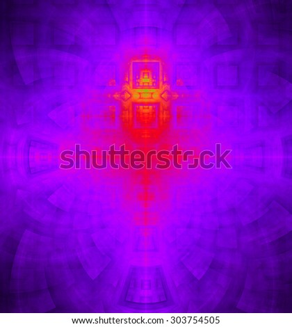 Abstract high resolution background with a detailed geometric square pattern and decorative arches, all in dark and bright vivid pink,red,yellow,purple - stock photo