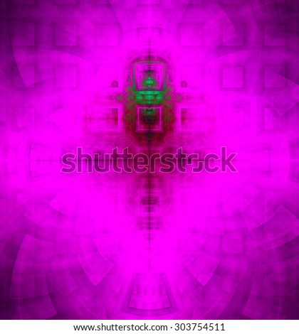 Abstract high resolution background with a detailed geometric square pattern and decorative arches, all in dark and bright vivid pink,purple,green - stock photo