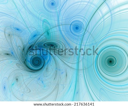 Abstract high resolution background with a detailed light green and blue fractal pattern consisting of various spirals, discs, circles and rings with black lining, all bended and twisted. - stock photo