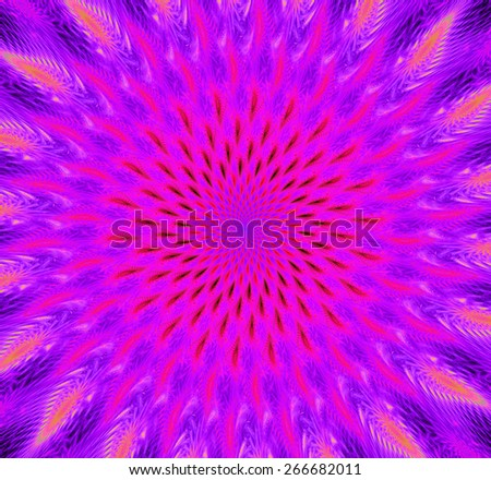 Abstract high resolution background with a detailed trippy bright vivid glowing spiraling flower-like decorative pattern creating a hypnotic optical illusion, all in pink and purple - stock photo