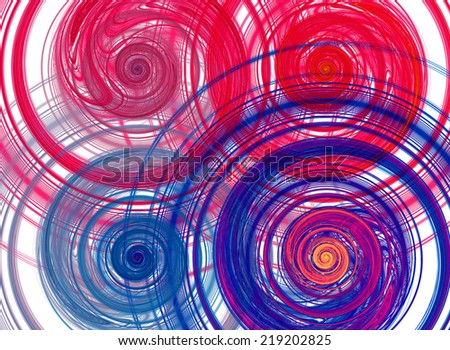Abstract high resolution background with four detailed vividly colored red, pink, purple, yellow and blue fractal bended and twisted spirals - stock photo