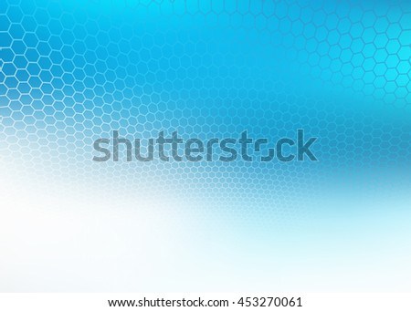 Abstract high resolution faded blue hexagon design background template perfect for various websites, artworks, graphics, cards, banners, ads and much more.  Plenty of space for text - stock photo