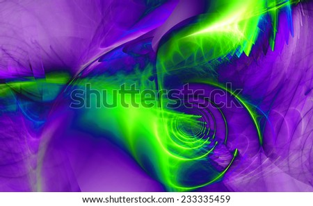 Abstract high resolution fractal background with a detailed shining abstract twisted pattern with a circular tunnel and various feather-like decorative structures in purple,blue,green colors - stock photo
