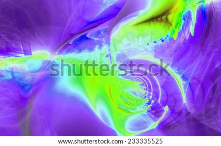 Abstract high resolution fractal background with a detailed shining abstract twisted pattern with a circular tunnel and various feather-like decorative structures in purple,cyan,green colors - stock photo