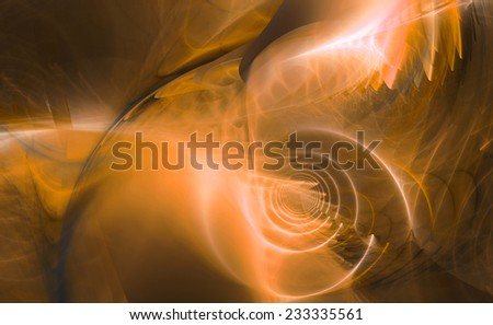 Abstract high resolution fractal background with a detailed shining abstract twisted pattern with a circular tunnel resembling a hyperspace and various feather-like decorative structures in orange - stock photo