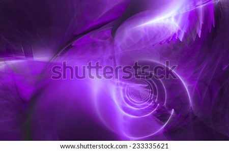 Abstract high resolution fractal background with a detailed shining abstract twisted pattern with a circular tunnel resembling a hyperspace and various feather-like decorative structures in purple - stock photo