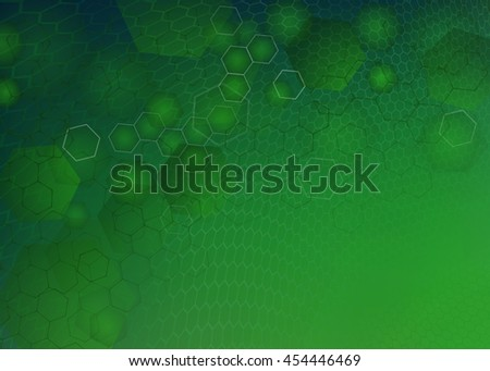 Abstract high resolution molecular illustration of green faded hexagonal/geometric mess layered design background perfect for Medical, Healthcare and Science and many other Businesses with copy space. - stock photo