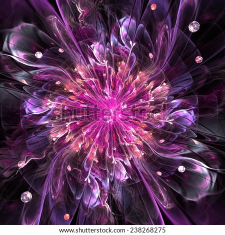 Abstract high resolution wallpaper with a detailed modern exotic looking shining flower in the center and a detailed decorative pattern with beams, orbs and ornamental pattern in red and purple - stock photo