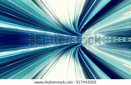 Abstract high speed technology concept image from the Yuikamome automated guideway in Tokyo Japan - stock photo