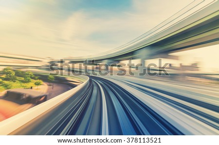 Abstract high speed technology POV concept image via the Kobe Portliner Monorail - stock photo
