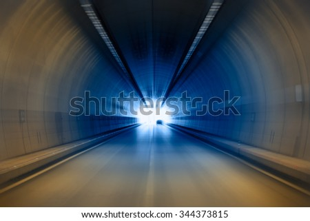 abstract highway road tunnel - stock photo