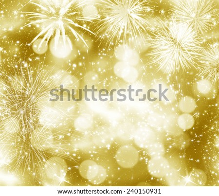 Abstract holiday background with New Year's fireworks and copy space  - stock photo