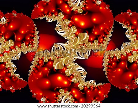 Abstract holiday fractal in glowing red and gold. - stock photo
