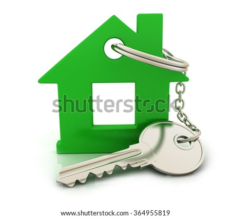Abstract home and key (done in 3d) - stock photo